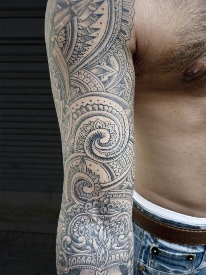 Ganesh and paisley tattoo sleeve