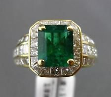 Estate Gran 4.30 ct Diamante & Aaa Esmeralda 18k Y Oro Radiante Anillo De Compromiso E/f