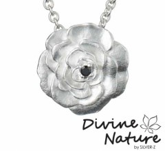 """Rose""  Sterling silver pendant set with a black cubic zirkonia."