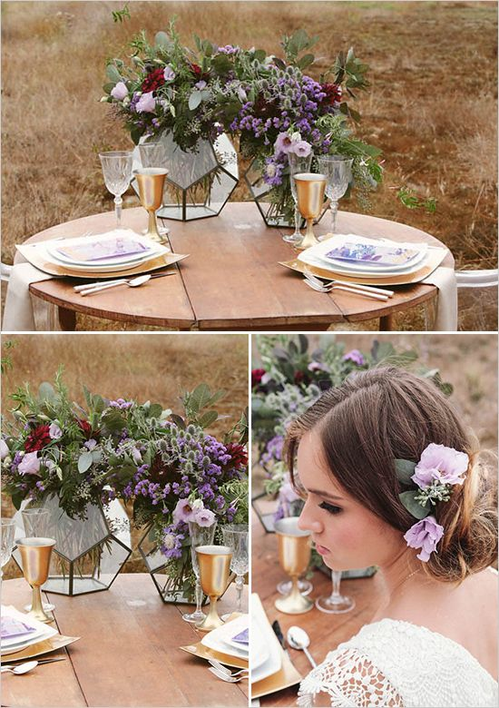 purple and gold wedding ideas | geometric vase wedding ideas | bohemian wedding florals | #weddingchicks
