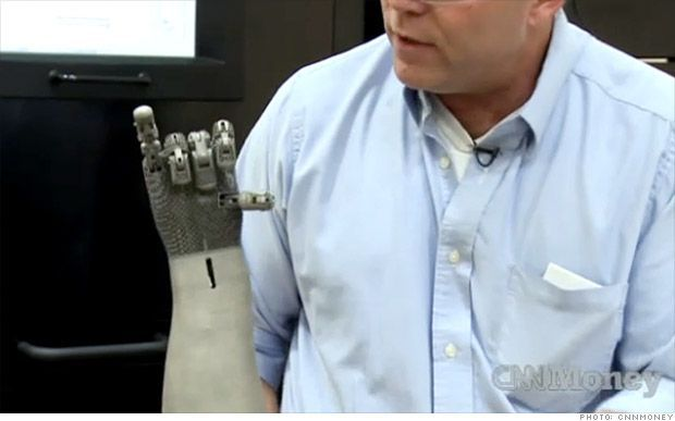 3-D PRINTING: Prosthetic arms require a lot of moving parts, which can make them heavy, clumsy and expensive. 3-D printers can change that, because of how efficiently they use materials. A titanium arm built at the Oak Ridge National Laboratory in Tennessee weighs just four pounds, half the weight of the average human arm, and has just $75 of materials.