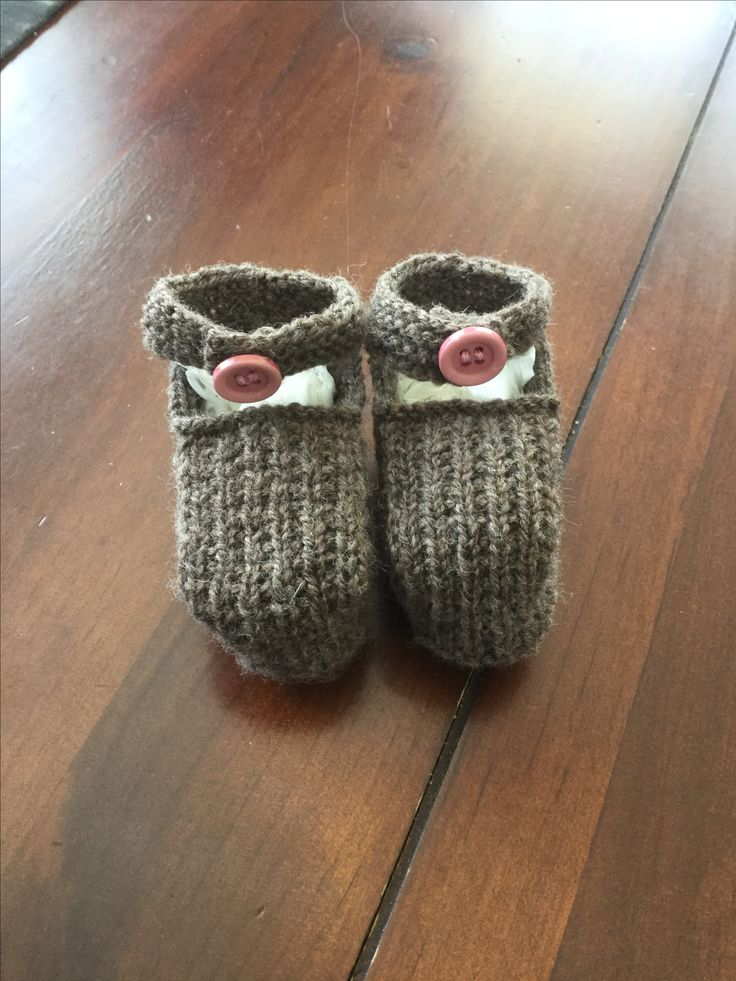 These cute 4 ply bootees with ankle straps are knitted in natural merino nz wool.
