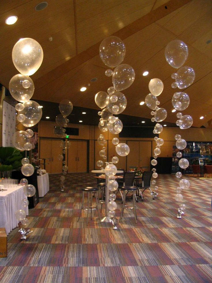 Bubble strands for a reception, New Years Eve, etc. Hang them from the ceiling in clusters or like the pic  by the dance floor!