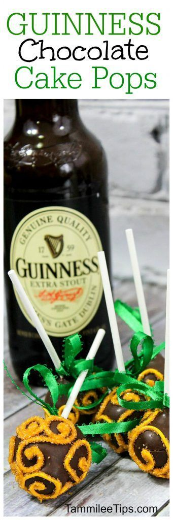 Easy Guinness Chocolate Cake Pop Recipe perfect for St Patricks Day! Everyone will love this chocolate stout beer sweet dessert recipe! Great St Pattys Day party recipe #cakepop #chocolate #stpatricksday #guinness #stpattys