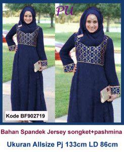 Baju Gamis Modern Terbaru - Detail produk model baju Gamis jersey kombinasi songket 719 : Bahan : Spandex jersey kombinasi kain songket import Kode : BF902719 Ukuran : Allsize Fit To