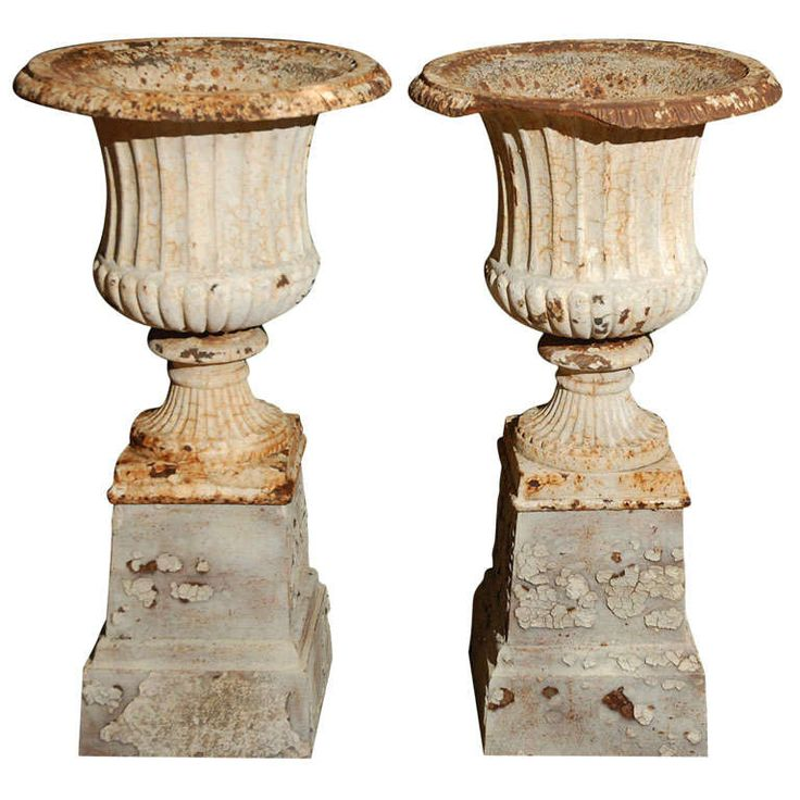 Pair of English Garden Urns, Circa 1840 | From a unique collection of antique and modern planters and jardinieres at https://www.1stdibs.com/furniture/building-garden/planters-jardinieres/