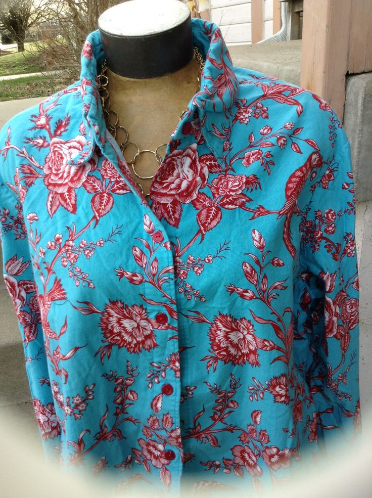 Excited to share the latest addition to my #etsy shop: Vintage hipster kitsch 80s ladies turquoise blouse with red blooms & birds size xl free domestic shipping