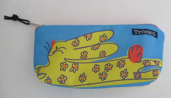 Bunny zippered pouch made in Maine by TroskoDesign on Etsy