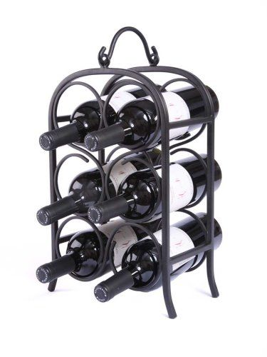 The arch design, an architectural icon since ancient times, is featured in this Oenophilia Wine Arch 6 Bottle Wine Rack. Perfect for countertop wine storage, this rack has a nice handle gracing its crown, and a handsome black finish over a metal base.