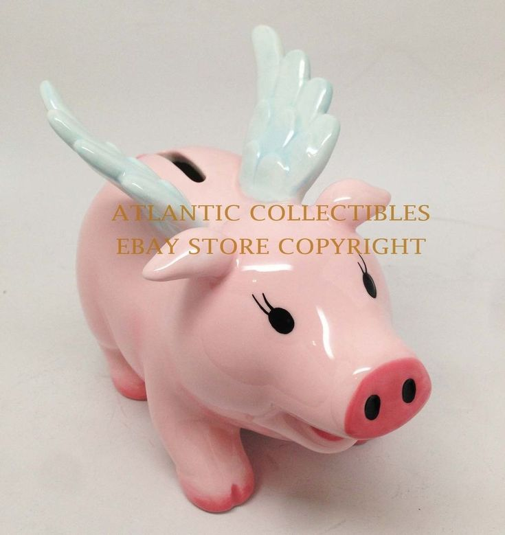 """Ceramic Money Bank Office Accessory Decor When Pigs Fly 5""""h Flying Pig Figurine"""