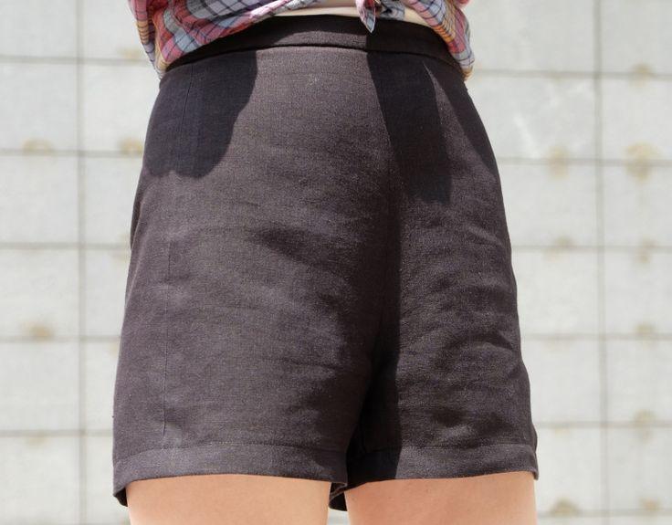 Une année de couture - Esther Shorts in black linen