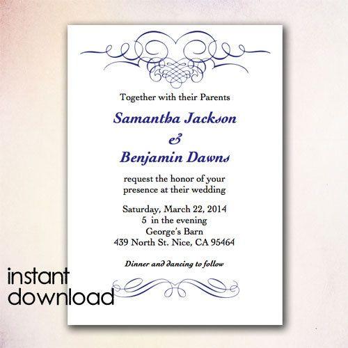 17 best images about diy wedding invitation templates instant download on pinterest diy. Black Bedroom Furniture Sets. Home Design Ideas