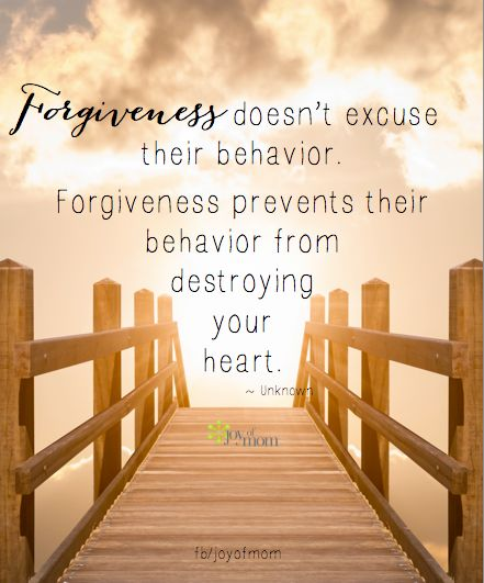 Forgiveness doesn't excuse their behavior. Forgiveness prevents their behavior from destroying your heart ~~❤~~