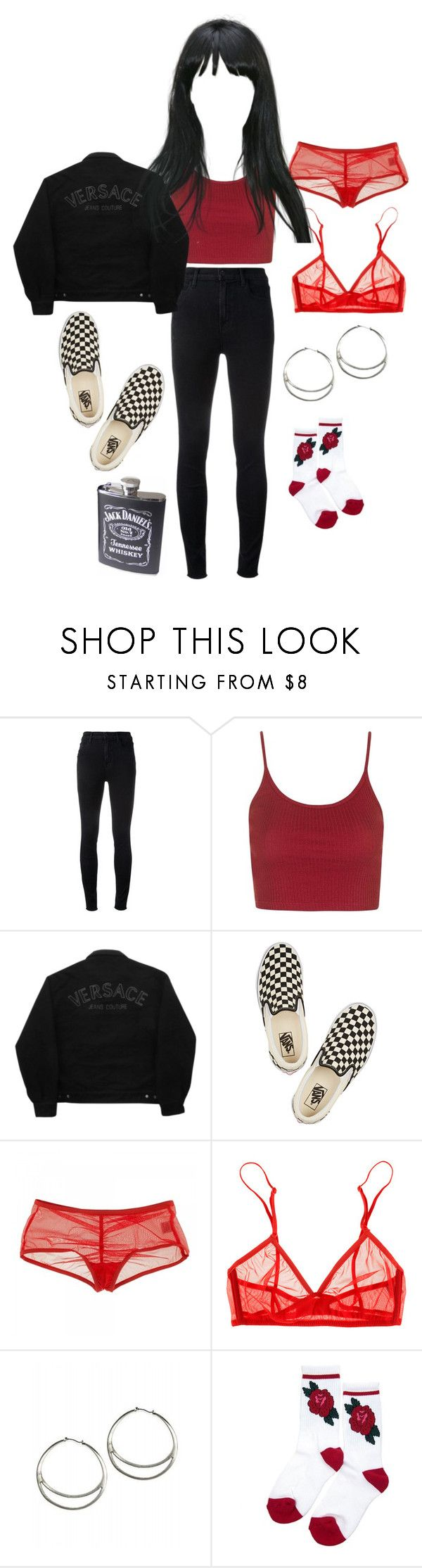 """""""Caroline"""" by c-ookie ❤ liked on Polyvore featuring J Brand, Topshop, Versace Jeans Couture, Vans and Only Hearts"""