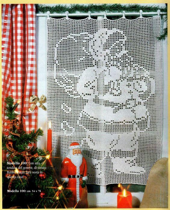 Filet Curtain Santa Claus Kersthaken Pinterest Haken Kerst