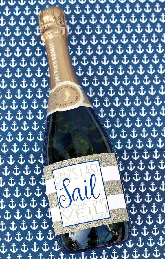 Nautical Last Sail Before the Veil Bachelorette Champagne Bottle Label by PreppingParties