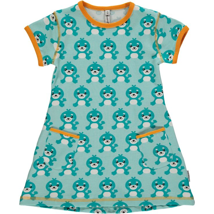 Seal short sleeve tunic from Maxomorra, made from 100% Organic Cotton. Sweatshop free ethical and sustainable fashion. From Maxomorra, available at Modern Rascals.