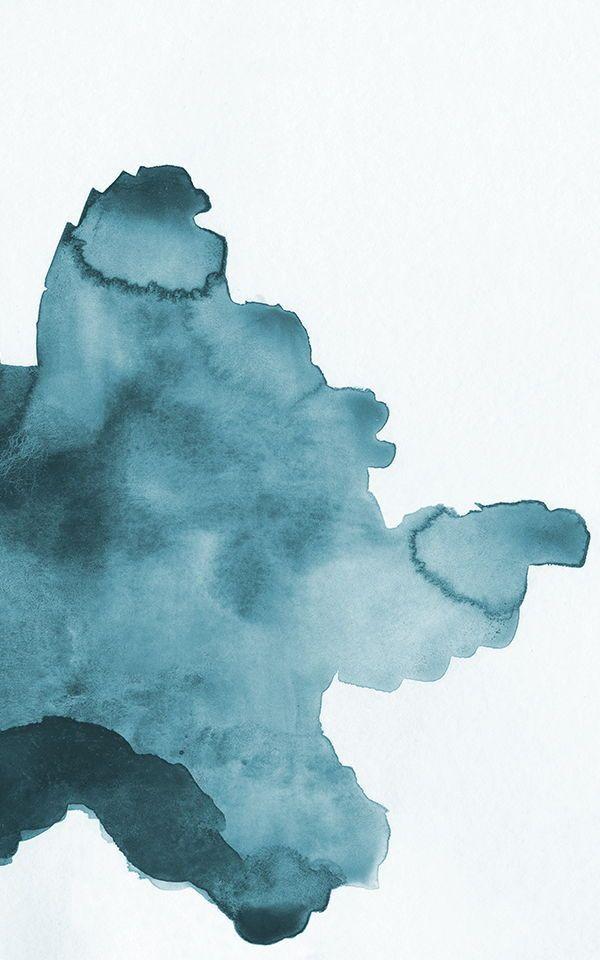 Papier Peint Tache Abstraite A L Aquarelle Bleu Canard