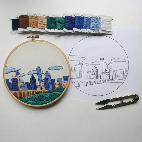 Dallas Tx United States Hand Embroidery Pattern Pdf Diy Embroidery Hoop Art Wall Decor Housewarming Gift Free Hand Embroidery Guide Embroidery Patterns Hand Embroidery Tutorial Embroidery Hoop Art