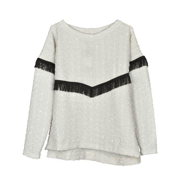 Sweater de mujer lanilla flecos.