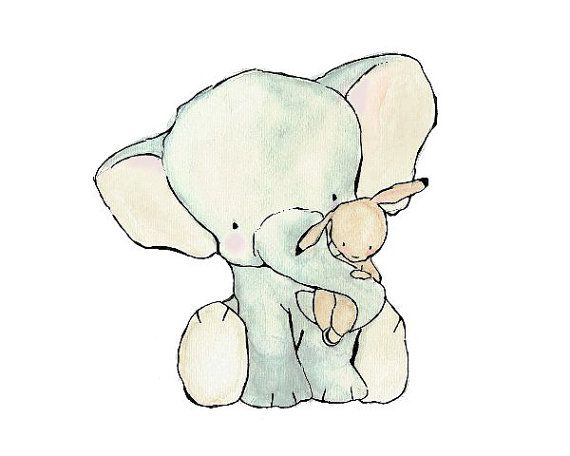 Nursery Art -- Elephant Hug -- Archival Print