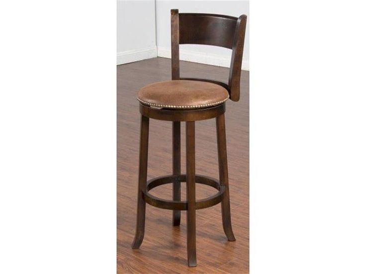 "Give your home extra seating with this Sunny Designs Santa Fe Swivel 30-inch Bar Stool. Made of wood and MDF, this 30-inch, bar height stool is durable and sturdy. Crafted stylishly, this brown stool will complement your home decor. These stools match perfectly with the Santa Fe 43"" Home Bar and the Santa Fe Back Bar Mirror and would really enhance your entertainment area."