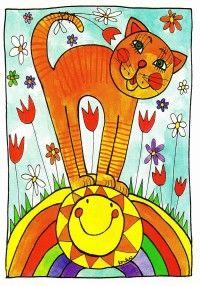 Pohlednice kočička s duhou - z tvorby paní Lenky Procházkové