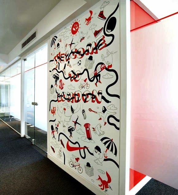 Wall art in Nike's office in Londen