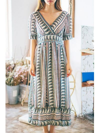 SHARE & Get it FREE | Ethnic Print V-Neck Short Sleeve Maxi DressFor Fashion Lovers only:80,000+ Items • New Arrivals Daily Join Zaful: Get YOUR $50 NOW!