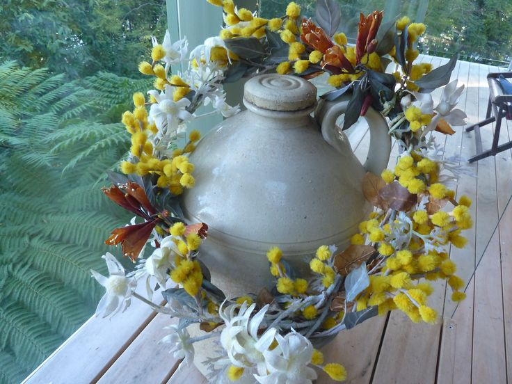 """I made this wreath out of artificial Native plants. Making a wreath is an idea for """"Wattle Day"""", but it would need to be exclusively Wattle."""