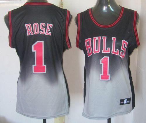 258d7bfe8a1 ... Bulls 1 Derrick Rose BlackGrey Fadeaway Fashion Womens Embroidered NBA  Jersey!