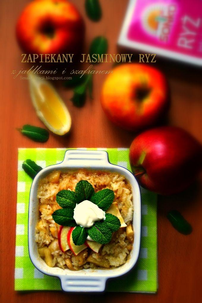 Zapiekany jaśminowy ryż z jabłkami i szafranem