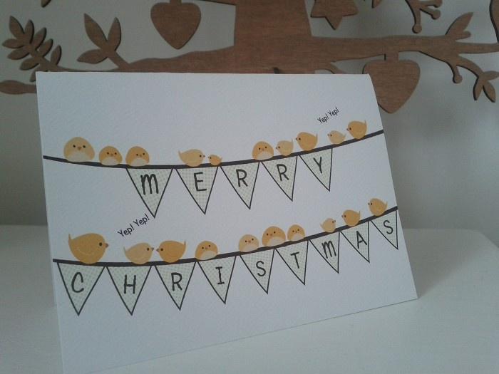 Set of 6 Happy Bunting Canary Christmas Cards on White Textured Card Stock - by CuteKotori on madeit