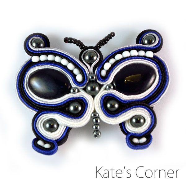 Butterfly brooch -- soutache by kfrancik