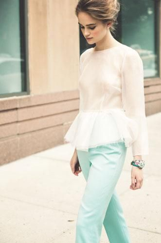 Currently Craving #Peplums: Mint Pants, Pastel, Mint Green, Summer Outfit, Peplum Tops, Blouse, Peplum Color Pink, My Styles, Summer Clothing