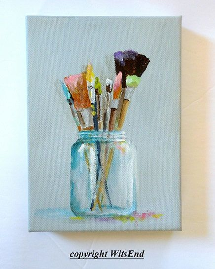 PAINTING SPRING. paint brushes painting original still life art artist by 4WitsEnd via Etsy