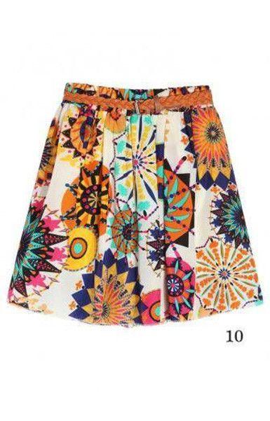 Chiffon Floral Pattern Summer Short Skirt