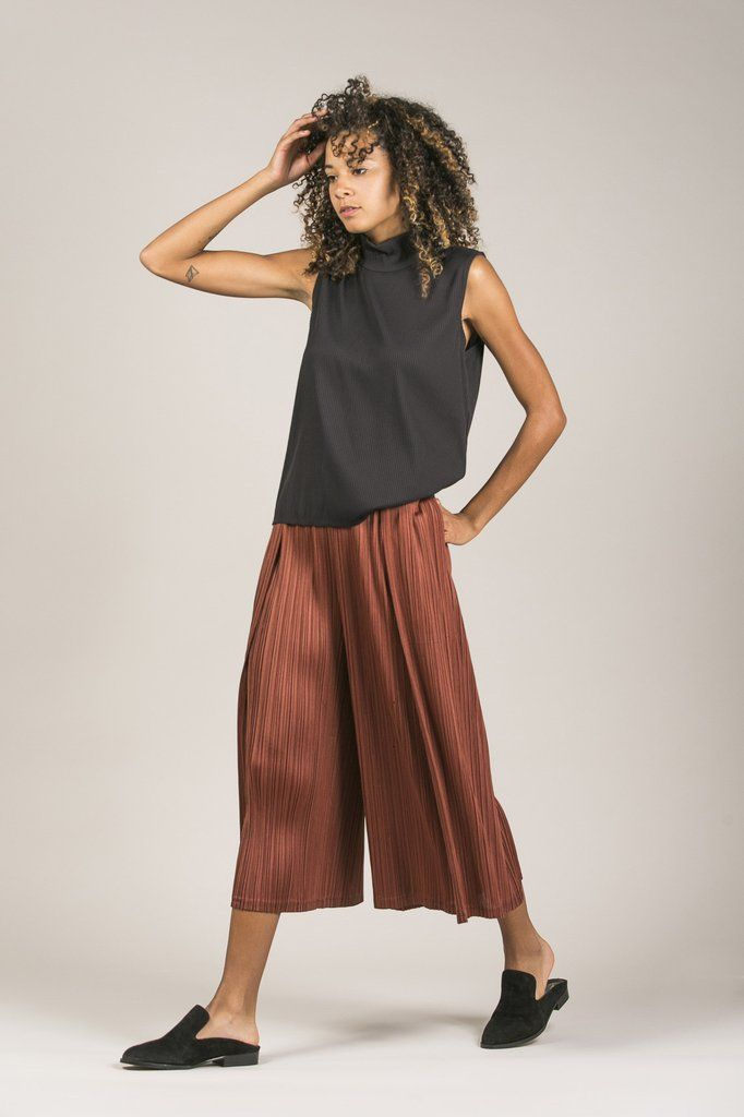 Wide Leg Pleated Pant by Pleats Please by Issey Miyake