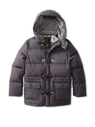 30% OFF Burberry Kid's Hooded Puffer Jacket (Navy/Check)