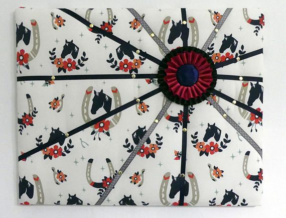 Beautiful french memory board / padded pin board featuring classic horse fabric with horse show ribbon detail. Made by English Rein, shop on etsy at https://www.etsy.com/listing/549673852/french-memory-board-padded-pin-board