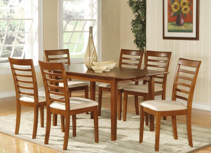 7 PIECE PICASSO DINING SET WITH CUSHION SEAT IN SADDLE BROWN http://stores.ebay.com/Dining-Furniture