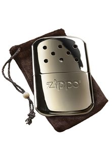 High Polish Zippo Hand Warmer. Lasts for up to 12 hours and comes with a two year guarantee.