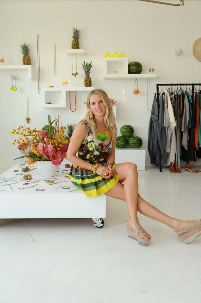 Lucy Folk getting ready to launch TROPICALISMO at TENOVERSIX in LA, via Vogue Australia.