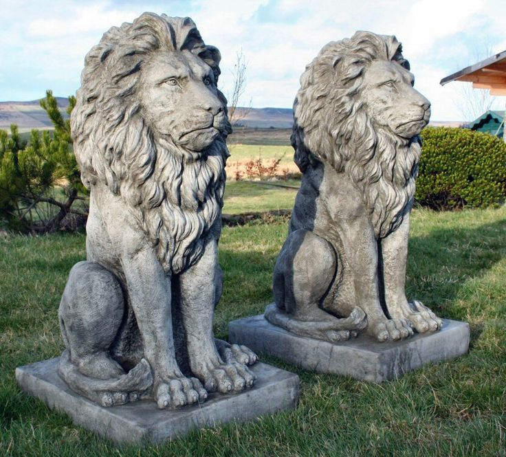 Charming Discount Garden Statues   Stunning Pair Large Sitting Stone Cast Lions  Garden Ornaments, £324.00