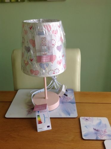 #Nursery kids childrens bedside #table lamp #hearts with birdie pink girls bedroo,  View more on the LINK: http://www.zeppy.io/product/gb/2/162165221323/
