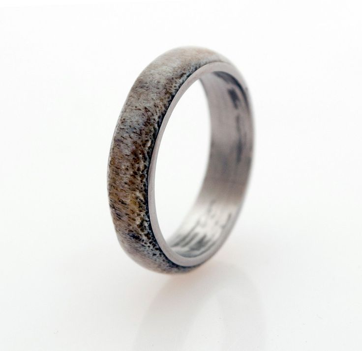 delicate titanium wedding band with deer atler by aboutjewelry, $180.00