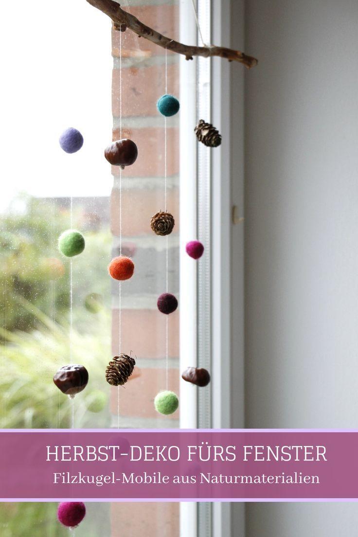 Herbstdeko Fürs Fenster Filzkugel Mobile Mit