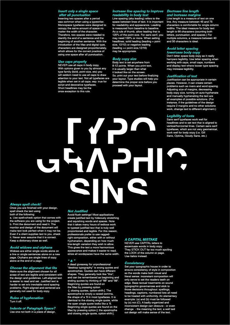 Typographic Sins Poster - Maz Type Class