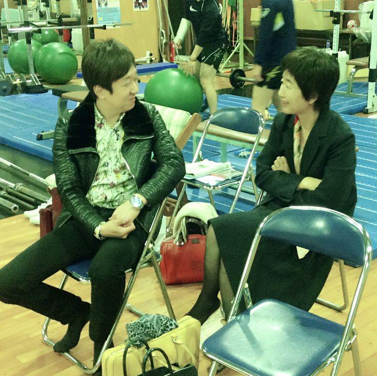 谷岡郁子学長と共に  2015年11月24日に至学館大学女子レスリング部の練習を見学させて頂きました‼️  #ALSOK #至学館大学女子レスリング部 #吉田沙保里 #谷岡郁子学長