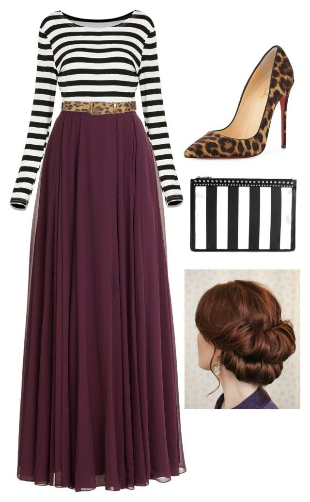"""Cheetah and Stripes"" by kortlynwells ❤ liked on Polyvore featuring Halston Heritage, Christian Louboutin, Givenchy, Leatherock and pentecostal"